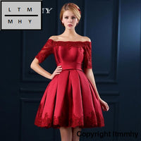 5 Colors Jersey Short Sleeve Ball Gown Embroidery Lace Special Occasion Women Evening Party Knee