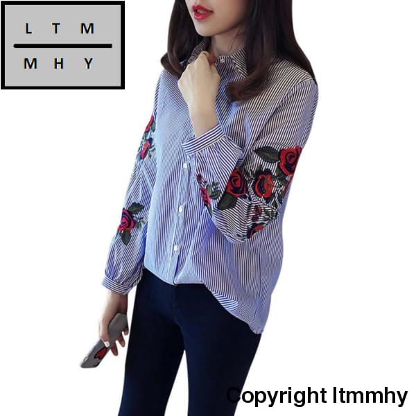 Autumn New Women Embroidered Blouses Blue Striped Long Sleeve Shirt Turn-Down Collar Top Camisas