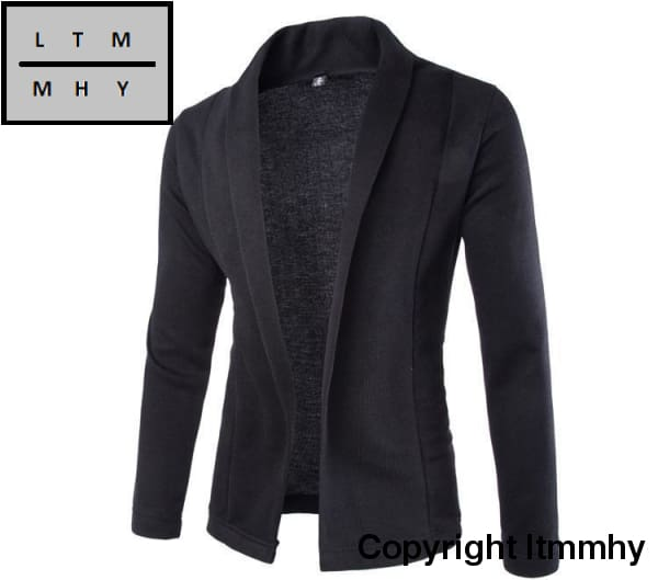 Cardigan For Winter - Men Long Sleeve Sweater Black / L