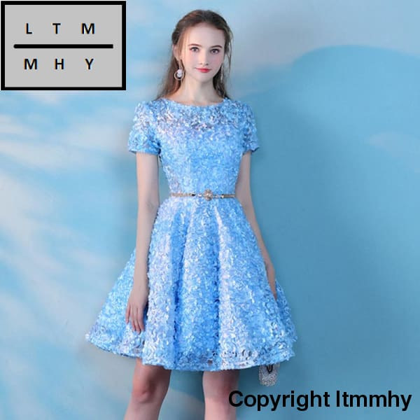 a2b8bb96aaf ... Ceewhy Light Blue O-Neck Short Formal Party Dress With Belt Sleeve  Cocktail Appliques Lace ...