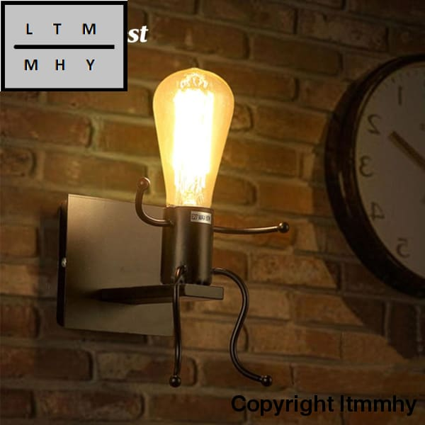Creative Man Shape Wall Lamp Cute Light Sconce E27 Socket Bathroom For Home Ac 85-240V (No Bulb