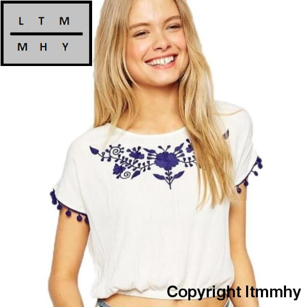 Embroidered T Shirt Women Short Sleeve Fashion Tassel Round Collar Vest Top Femininas Blusa Tees