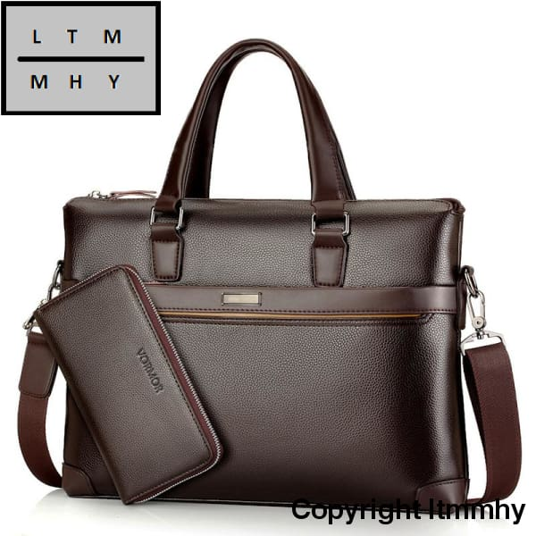 Famous Brand Fashion Casual Leather Mens 2 Set Bag Shoulder Messenger Bags Business Handbag Laptop