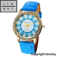 Fashion Crystal Watch Women Watches Casual Pu Leather Wrist For Relogio Feminino Blue