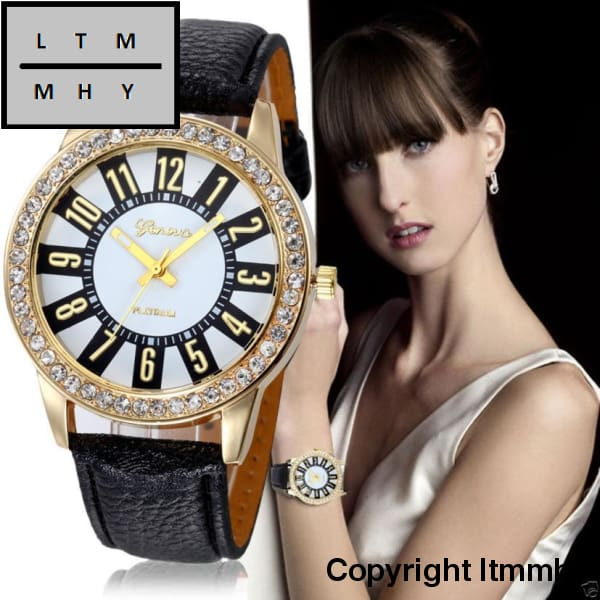 Fashion Crystal Watch Women Watches Casual Pu Leather Wrist For Relogio Feminino