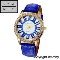 Fashion Crystal Watch Women Watches Casual Pu Leather Wrist For Relogio Feminino Navy Blue