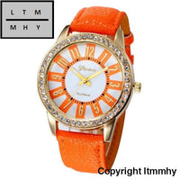 Fashion Crystal Watch Women Watches Casual Pu Leather Wrist For Relogio Feminino Orange