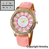 Fashion Crystal Watch Women Watches Casual Pu Leather Wrist For Relogio Feminino Pink