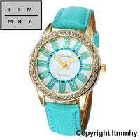 Fashion Crystal Watch Women Watches Casual Pu Leather Wrist For Relogio Feminino Sky Blue