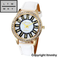 Fashion Crystal Watch Women Watches Casual Pu Leather Wrist For Relogio Feminino White