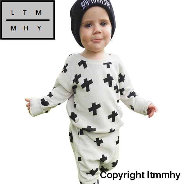 Fashion Kids Clothes Toddler Infant Baby Boys Print Blouse Sweatshirt+Pants 2Pcs Outfits Set