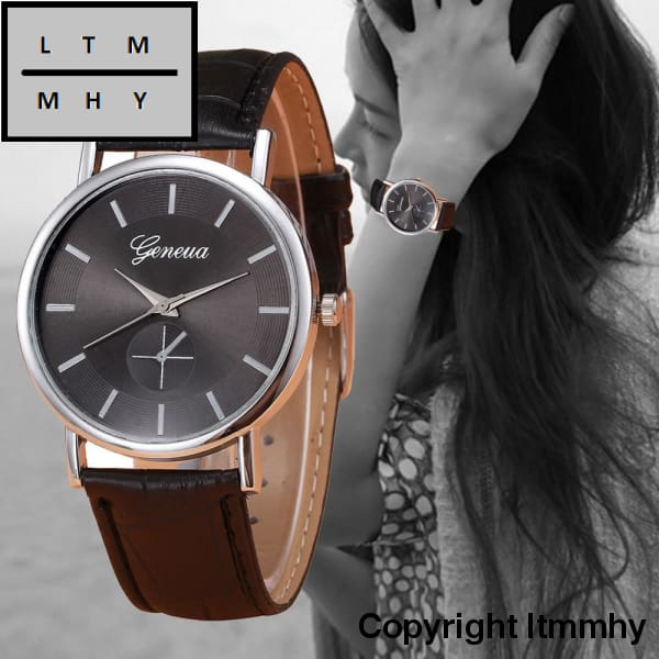 Fashion Women Quartz-Watch Pu Leather Geneva Wrist Watch For Hours Clock Ladies Watch