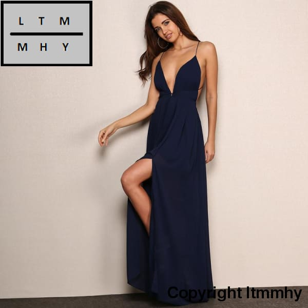 a3ce3b4cd2 ... Feditch New Fashion 4 Color Deep V Neck Maxi Dress Women Sexy Backless  Evening Party Dresses ...