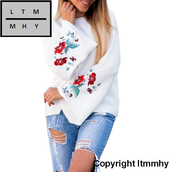 Feitong Embroidery Winter Autumn Blouse Women Flare Long Sleeve Knitwear Flowers Cardigan Casual