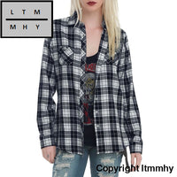Feitong Plaid Blouse For Womens Ladies Fashion New Turn-Down Collar Pockets Long Sleeve Autumn