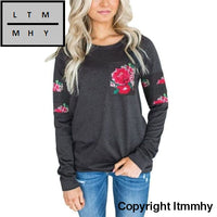 Floral Printed Sweatshirt Womens Fashion Pockets Crew Neck Sweatshirts Pullover Casual Tops