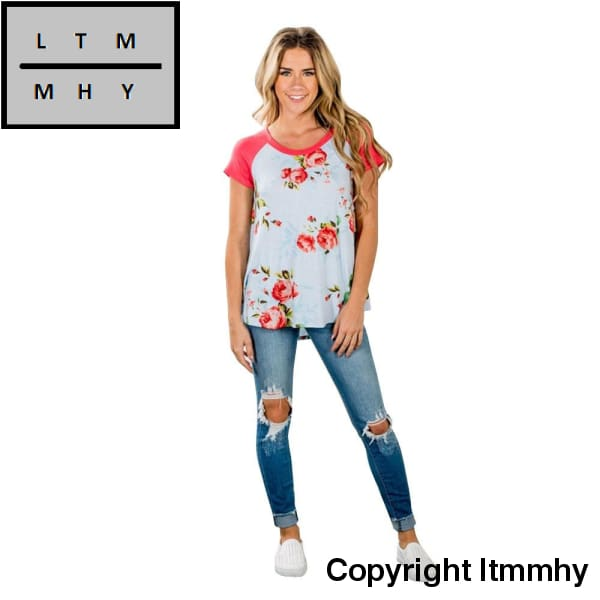 Floral Printed T-Shirt Women Short Sleeve Shirt Vintage Red Tees O Neck Casual Shirt Tops Feminina