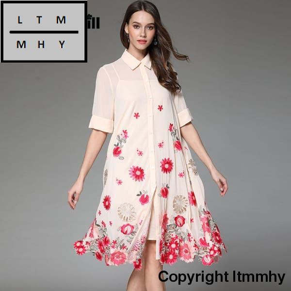 Floral summer women trench coat dress loose ladies embroidery dresses