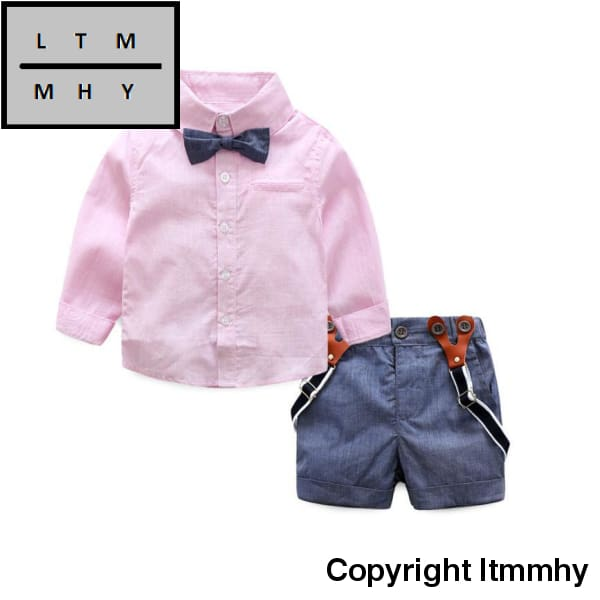 Gentleman Formal Baby Boys Clothing Sets Infant Spring Autumn Tie Shirt+Overalls Party Wedding