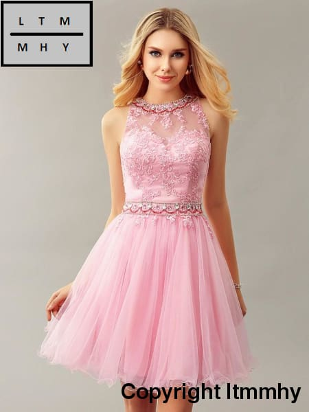 0d0871ab Glamorous Pink Tulle Short Cocktail Dresses Beaded Lace Sparkly Crystal  Keyhole Back Cute Prom Gowns