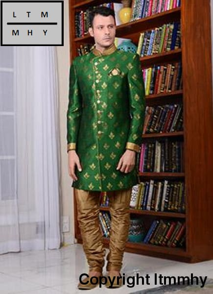 2d0dcfcfd4e Green and brown kurta pajama men traditional wear