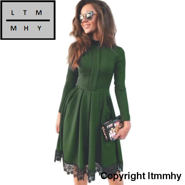 High Collar Women Autumn Dress Fashion Black Lace Green Dresses Long Sleeve Vintage Party Elegant