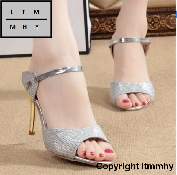 adcee40bf6c70 ... High Heels Sandals Ankle-Wrap Women Beautiful Ladies Silver Gold Summer  Shoes   5 ...