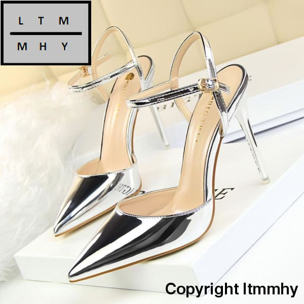 High Quality Women Thin Heels Silver Wedding Shoes Lady Pointed High-Heeled  Leather Sexy Slim ... 8ebfb17c67e1