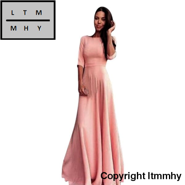 Hot Sale Fashion Pink Women High Waist Long Party Ball Prom Gown Formal Bridesmaid Maxi Vestido