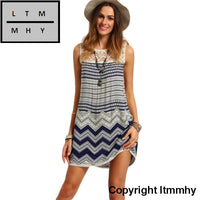 Jecksion Newest Fashionable Women Dresssundress Beach Striped Sleeveless Lace Boho Sexy Mini Dress