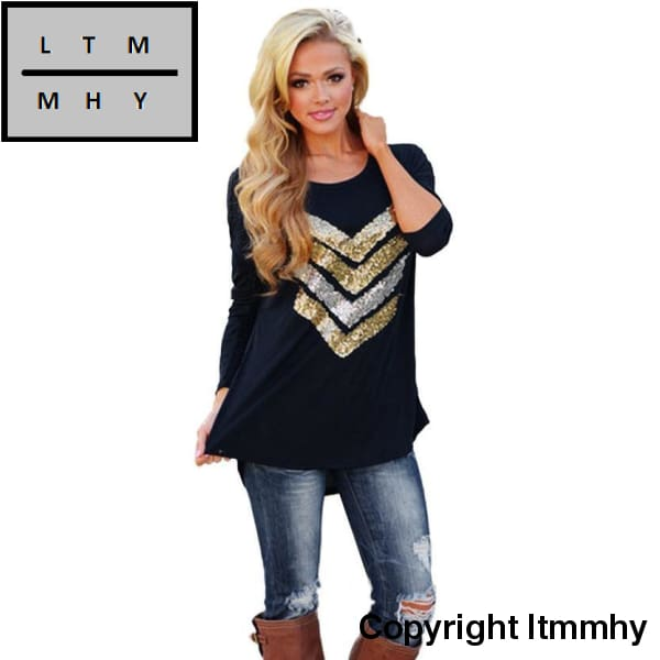 Jecksion Womens Tees 2016 Fashion Sequins Decor Shirts Long Sleeve Pullover Loose Tops T-Shirt