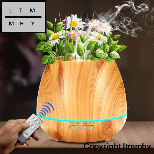 Kbaybo 550Ml Aroma Essential Oil Diffuser Ultrasonic Air Humidifier With Wood Grain Electric Led