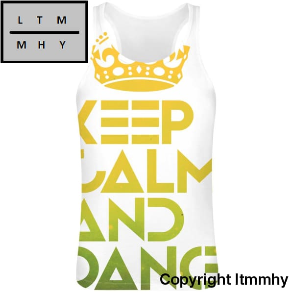 Keep Calm And Dance Sublimation Tank Top T-Shirt For Men - 100% Soft Polyester All-Over Printing