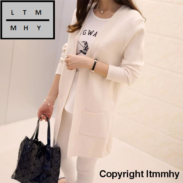 Korean Autumn New Female Shirt Sleeved Jacket Sweater Cardigan Long Dress Beige / S
