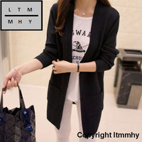 Korean Autumn New Female Shirt Sleeved Jacket Sweater Cardigan Long Dress Black / S