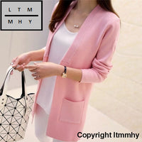 Korean Autumn New Female Shirt Sleeved Jacket Sweater Cardigan Long Dress