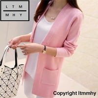 Korean Autumn New Female Shirt Sleeved Jacket Sweater Cardigan Long Dress Pink / S