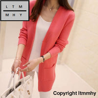Korean Autumn New Female Shirt Sleeved Jacket Sweater Cardigan Long Dress See Chart / S