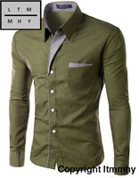 Long Sleeve Shirt Men Korean Slim Design Formal Casual Male Army Green / Asian Size 4Xl