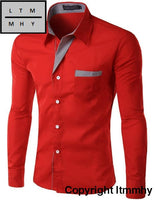 Long Sleeve Shirt Men Korean Slim Design Formal Casual Male Red / Asian Size 4Xl
