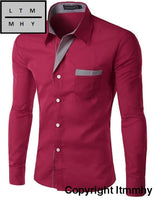 Long Sleeve Shirt Men Korean Slim Design Formal Casual Male Wine Red / Asian Size 4Xl
