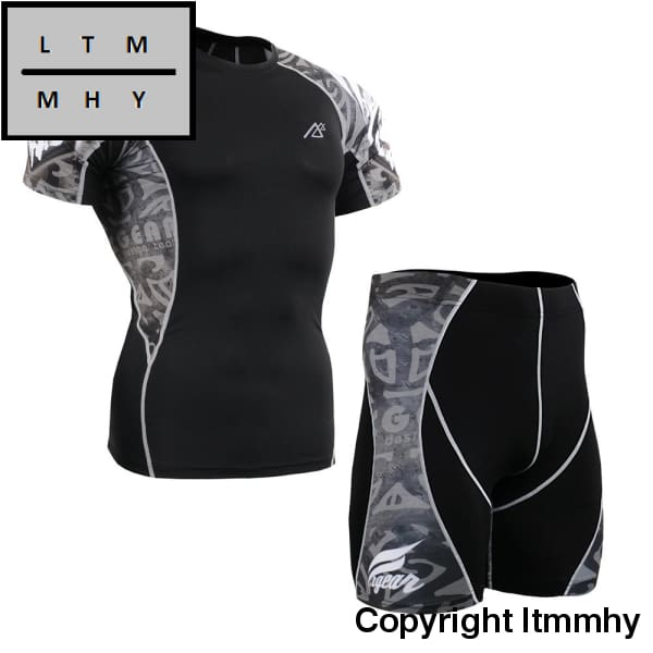 Men Compression Clothing Set Gym Sports Wear Short Sleeve Tshirt & Shorts Bodybuilding Clothes
