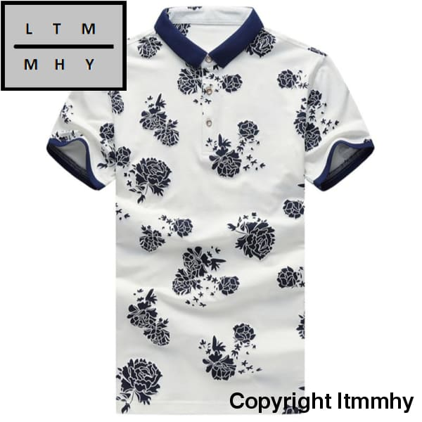 b33b39b4c93d Men Floral Printed Polo Shirts Brand Summer Short Sleeve Casual Cotton Slim  Fit Business Fashion ...