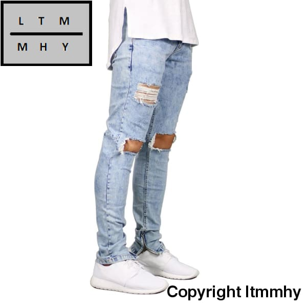 Men Jeans Stretch Destroyed Ripped Design Fashion Ankle Zipper Skinny For E5020