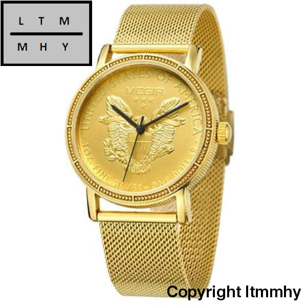 Men Quartz Watches Mens Full Steel Clock Gold Watch Casual Wrist Waterproof