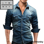 Men Shirt Brand 2018 Male Long Sleeve Shirts Casual Solid Color Denim Slim Fit Dress Mens 3Xl 3011