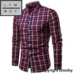 Men Shirt Korean Long Sleeve Plaid Shirts Casual Slim Fit Dress Yellow Blue Red / S