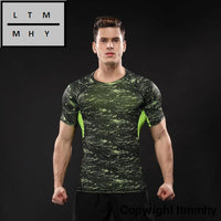 Men Sport Running Wear Bodybuilding Clothing Fitness Compression Tights Clothes Short Sleeve Gym T