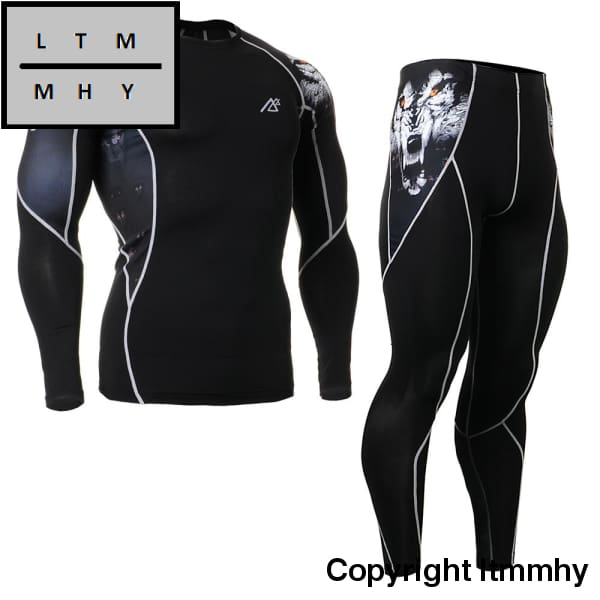 Mens Compression Sportsman Wear Skin-Tight Tracksuits Gym Training Sport Suit Workout Fitness Yoga