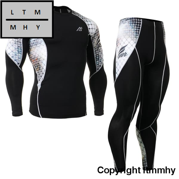 Mens Gym Wear Long Sleeve Compression Tee Shirt&leggings Pants Under Training Tights Base Layer